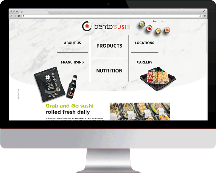 Bento Sushi on a desktop monitor