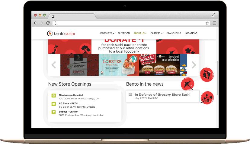 Bento Sushi on a laptop